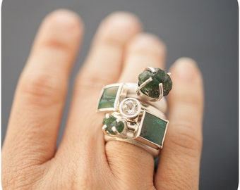 Hard Candy Tsavorite Sterling Silver Ring - Rough Gemstone