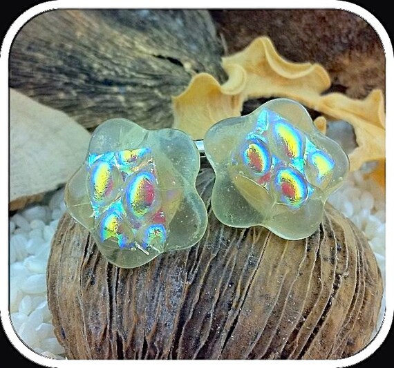 Fused Glass Flower Cufflinks - Silver T-Bar Fittings - Semi-Transparent Glass layered with Textured Iridescent  Rainbow Bubbles