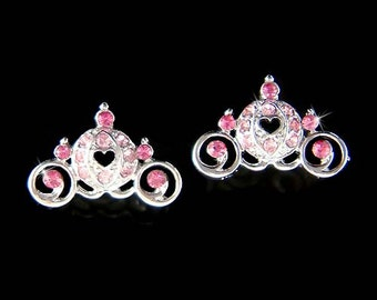 Swarovski Crystal Pink Cinderella Pumpkin Carriage Coach Fairy tale Bridal Stud Pierced Earrings Wedding Princess Party Girls Jewelry Gift