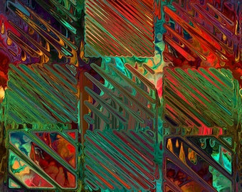 Textile Art Created Contemporary Rich Large Panel Fiber Art Streaks of Color Abstract Squares