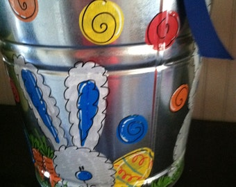 Easter bucket or easter basket hand painted and personalized for your sweet onel