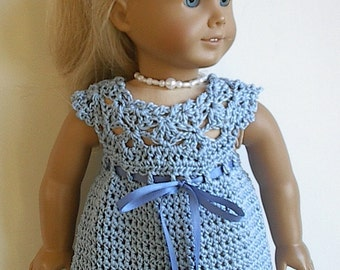 18 inch Doll Clothes - Crocheted Cotton Sleeveless Dress in Blue Handmade to Fit the American Girl and Similar Dolls