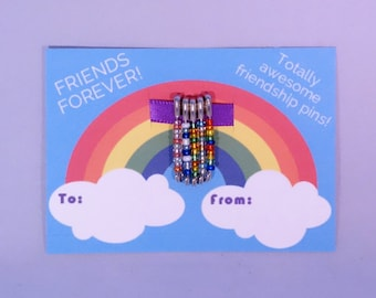 80s style friendship pins with decorative To/From card