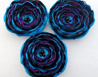 3 Big handmade aqua blue, dark blue, purple and black fabric flowers - flower decor, singed flowers, something blue, wedding bouquet
