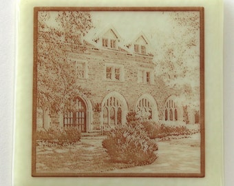 Lane-Johnston Building - Fused Glass Commemorative Coaster - St. Albans School Campus