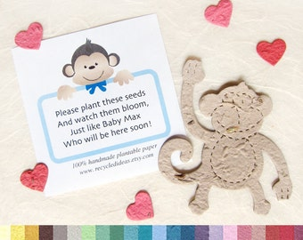 15 Seed Paper Monkeys Baby Shower Favors With Personalized Monkey Cards    Zoo Baby Shower Plantable