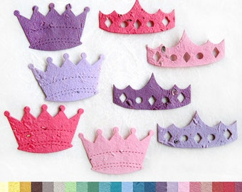 10 Plantable Crowns - Princess Party Favors - Seed Paper Tiaras and Crowns - Plantable Pots Option - Little Prince Baby Shower Favors