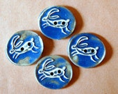 4 Handmade Stoneware Buttons -  Leaping Hare Buttons - Sweet Rabbit Buttons in Denim