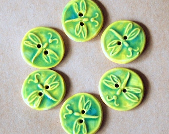 6 Handmade Stoneware Buttons- Small Dragonfly Buttons in Spring Grass Green - Handmade Knitting Supplies - Baby Sweater Buttons