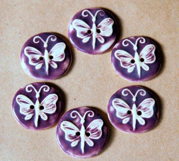 6 Handmade Ceramic Buttons - Butterfly Buttons in Purple on Stoneware