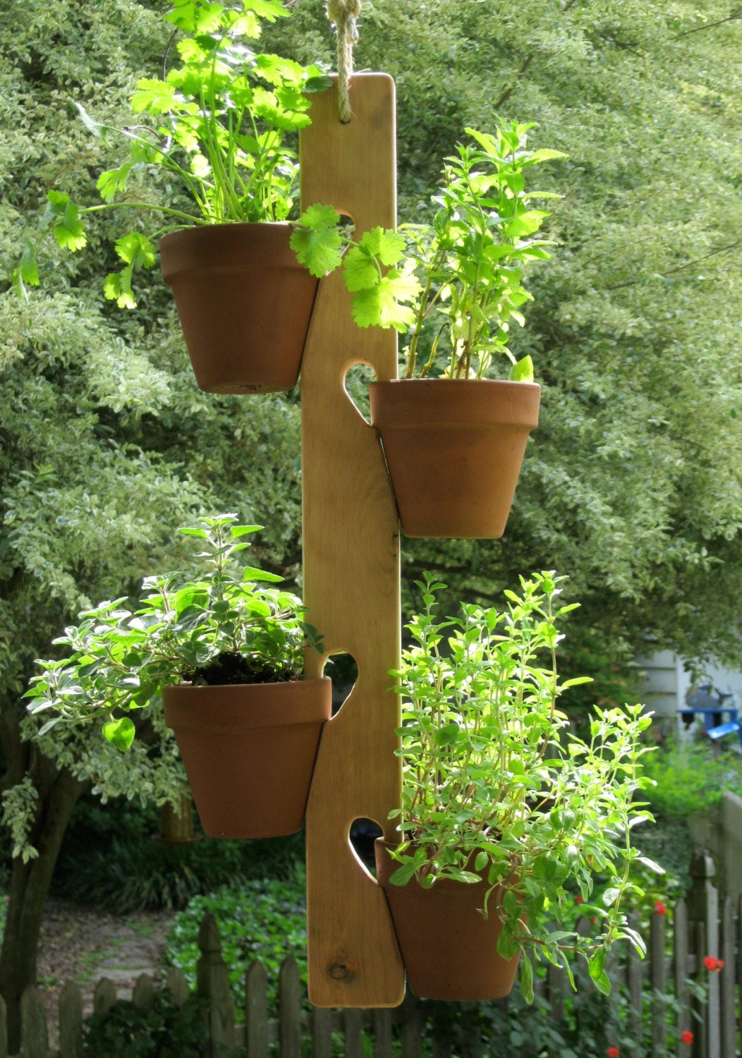 flower pot plant hanger wood herbs flowers handmade by. Black Bedroom Furniture Sets. Home Design Ideas