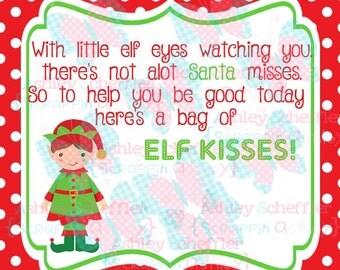 Elf Kisses. Elf. Candy Tag. Kisses. Boy Elf. Christmas. Christmas.Tag. Square Tag. Instant Download. PDF file.