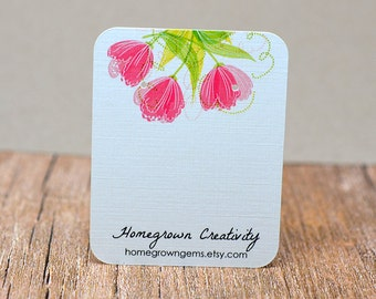 Earring Cards Customized with Pink Tulip Flowers and Your Information - Jewelry Display Tags - Price Tags - Earring Tags