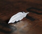 Silver Feather post earrings