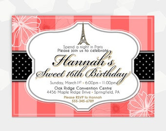 Paris Coral Flower Invite Themed Party Invitation - Birthday Shower Cocktail Invite - Customized - DIY Printable