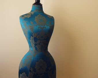 Corset Display Mannequin Burlesque Damask Wasp Waisted Home Decor Dressform - Celia Peacock