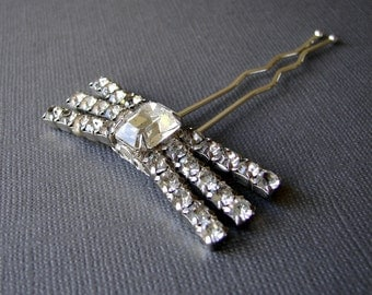 Rhinestone Bow Hairpin Jeweled Hairpiece Vintage Jewelry Hair Comb Crystal Headpiece Wedding Bridal Formal Prom Ballroom Pageant Accessories
