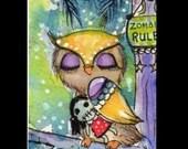 ACEO Owl Art, Zombie Art, Whimsical illustration, Owl art