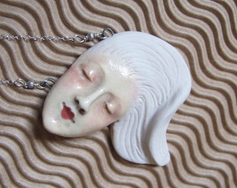 Floating - Ceramic Lady Pendant on Sterling Silver