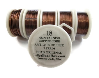 Antique Copper Wire - 18 Gauge Round Wire for Making Jewlery, Non Tarnish Wire, Wire Wrapping Supplies