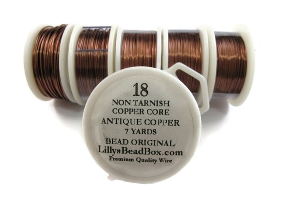 Antique Copper Wire - 18 Gauge Round Wire for Making Jewelry, Non Tarnish Wire, Wire Wrapping Supplies, Jewelry Supplies