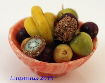 12th scale handmade miniature fruit bowl
