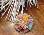 RESERVED SALE Vintage 1940s Brooch shell novelty souvenir resort 40s floral