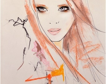 Marianne 2  - Fashion Illustration Art Print, Portrait, Woman, Mix Media Painting by Leigh Viner