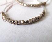 Organic Artisan Hoop Earrings - 18 gauge sterling silver hoops with tiny brass beads mixed metal