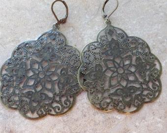 Antique Bronze Filigree Earrings, Flower Earrings, Everyday Earrings