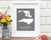 Two States Map, Long Distance Relationship Personalized Map, Friendship Gift, Personalized Bridal Shower, Deployment Gift - 8x10 Art Print