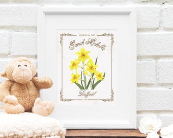 New Mother Gift : MARCH Birthday, Daffodil Flower, Personalized Birth Month Flower Illustration - Nursery Art - New Baby - 8x10 Art Print