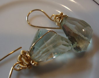 Simple Natural Green Amethyst Nuggets Gold Filled Wire Wrapped Earrings