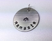 Namaste Pendant with Lotus - Yoga Pendant, Namaste Necklace, Yoga Necklace, Lotus Pendant, Namaste Pendant, Lotus Necklace