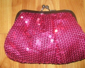Hot Pink Ultra GIRLY Sequin Change Style Purse or Make-up Bag