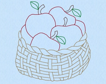 Basket of Apples machine embroidery design file