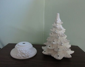 Vintage Style Lighted Christmas Tree -Small size 8 inch -  Bisque - Ready to paint - DIY Christmas tree - kit
