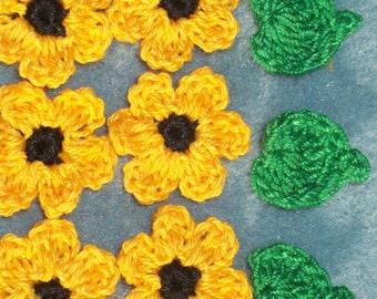 12 handmade goldenrod crochet applique flowers with leaves -- 361