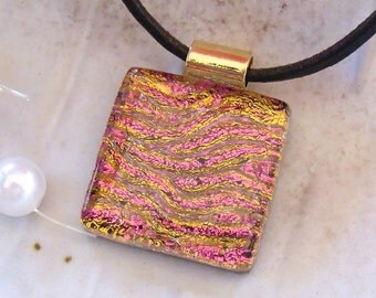 Petite, Dichroic Necklace, Pendant, Fused Glass, Glass Jewelry, Necklace, Gold, Pink, Necklace Included, A7