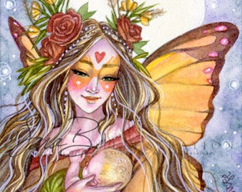 Autumn Fairy Art Print - Mother and Baby Butterfly Fairy Moon