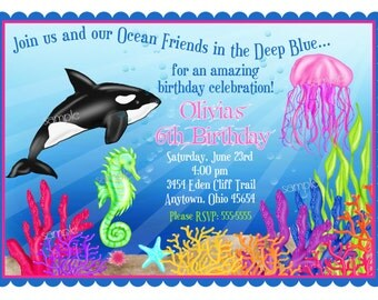 Ocean Invitations, Under the Sea invitations, Orca Whale invitations, Ocean, Birthday, Children, Kids, Personalized, Baby shower