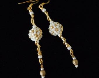 Bridal Gold Earrings, Long Dangle Earrings, Beaded Bridal Earrings, Wire Wrapped Earrings, Beaded Beads