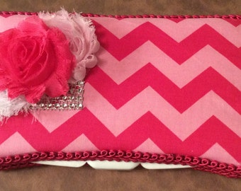 Pink Chevron Travel Wipe Case for baby shower GIFT rhinestone bow Hot Pink
