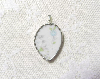 Broken China Jewelry Pendant Vintage Blue Pink Floral China