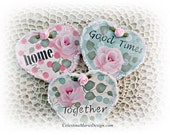 Conversation Wood Heart Ornaments Set of 3, Hand Painted Roses, Embellished, Gift, Decoration, ECS