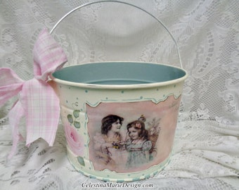 Spring Rose Metal Bucket, with Vintage Graphic, Hand Painted, Easter Bucket, Gift, Collectible, ECS