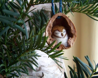 Needle Felted Owl in Walnut Heirloom Christmas Ornament-Barn Owl