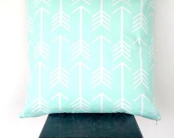 Mint Arrow and Chevron Cushion Cover