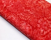 Candy Apple Red Batik With Waxed Flowers Timeless Treasures Tonga Quilt Fabric