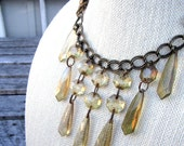 Fumee Necklace - vintage plastic smoke chandelier crystals on bronze necklace - Free Shipping to USA